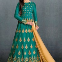 Cyan and Beige Embroidered Anarkali Suit