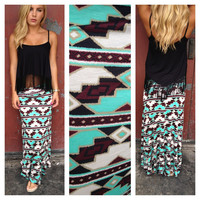 Aztec Mint & Black Maxi Skirt