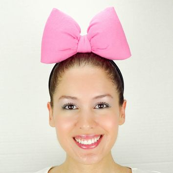 Big Minnie Mouse Bow Headband - Barbie Pink