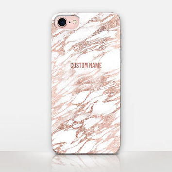 Personalised Rose Gold Marble Phone Case For- iPhone 7 Case-iPhone 7 Plus Case-iPhone SE Case-iPhone 6S case - iPhone 6 case - iPhone 5 Case