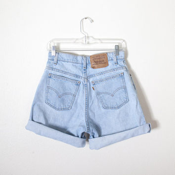 Vintage Levi's Shorts / High Waisted Shorts Faded Denim Festival Shorts Jean Shorts 80s Shorts Soft Grunge 90s Shorts Boho Chic Orange Tab