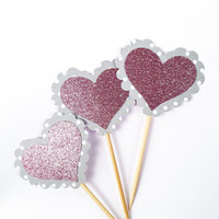 Polka Dot Glitter Heart Cupcake Toppers - 12 Gray, White, Light Pink Valentine's Toppers - Valentine's Day // Birthday Party
