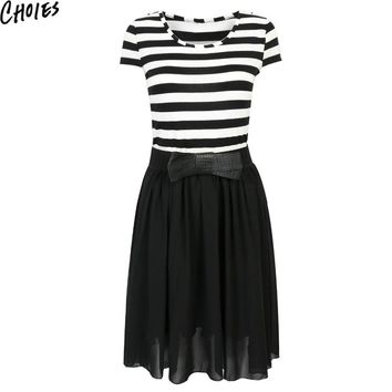Women White And Black Stripe Contrast Short Sleeve Cute Slim Skater Midi Dress New Fashion Elegant Bowknot Summer Dresses
