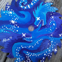 Painted Saw Blade, Dragon Painting, Outer Space Painting, Moon And Stars, Night Sky Painting, rustic cabin decor, fantasy artwork