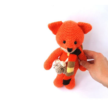 stuffed fox toy, amigurumi orange animal, woodland crocheted toy for children, cuddly doll, outdoor actvity, go outside, climb mountins