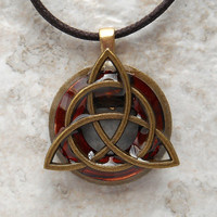 triquetra necklace: rust - mens jewelry - trinity knot - celtic jewelry - fathers day - unique jewelry - boyfriend gift - mens necklace