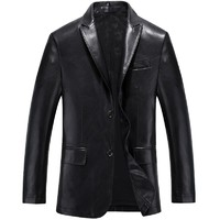 HETOBETO Autumn Leather Jackets Mens PU Leather Jacket Coats Male Faux Leather Jackets Suit Collar Male Casual Overcoat