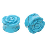 Liquid Glass Stone Turquoise Carved Rose Saddle Plug 2 Pack