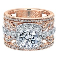 18K Rose and White Gold Stacked Multi-Band Vintage Diamond Engagement Ring