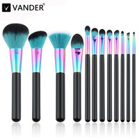 Vander Professional Copper 10Pcs Make Up Brushes Set Foundation Face Powder Cosmetic Makeup Kabuki Kits Pincel Maquiagem Quality