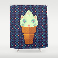 Strawberry-Mint Cat Shower Curtain by BadOdds