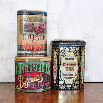 Vintage Advertising Tins, Set of Three, Tea, Arrowroot Biscuits, Ginger Wafers, Daher, Made in England