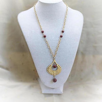 Tribal Teardrop Pendant Necklace In Gold Tone With Maroon Accent Beads