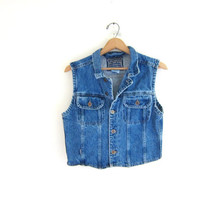 CIJ 25% OFF SALE Vintage jean vest. button up denim layer vest. Sleeveless jean jacket