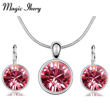 Magic Ikery Fashion Set Bridal Indian Red Costume Jewerly African Round Crystal Jewelry Sets Necklace Earring Sets For Women
