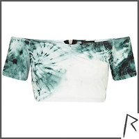 Green tie dye Rihanna bardot crop top  - tops / t-shirts - rihanna for river island - women