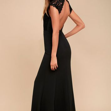 Crazy About You Black Backless Lace Maxi Dress