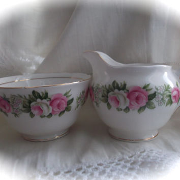 Colclough milk jug and sugar bowl. Vintage bone china. Ideal for use at a tea shop, wedding, celebration etc