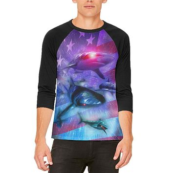 July 4th Patriotic American Galaxy Laser Sharks Mens Raglan T Shirt