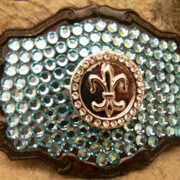Fleur De Lis Rhinestone Belt Buckle, Blue Turquoise Swarovski Crystal Belt, Mardi Gras New Orleans Saints Belt Buckle