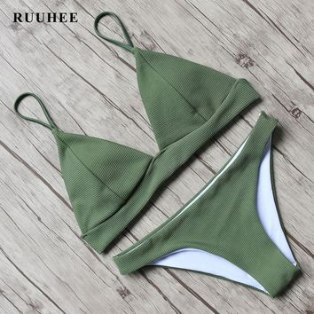 RUUHEE Bikini 2017 Sexy Women Swimwear Brazilian Push Up Bikini Set Bathing Suit Bandage Swimsuit Low Waist Bench Swimsuit Pad