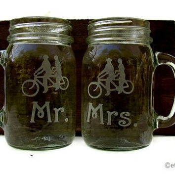 Mason Jar Handle mugs tandem bicycle, Matching Mr & Mrs
