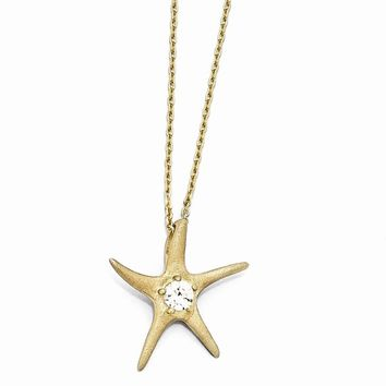 "Sterling Silver Satin Gold-plated CZ Starfish 18"" Necklace"