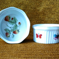 Vintage Strawberries and Butterflies Dessert Dishes by Lenwile China Ardalt Japan Oven to Table