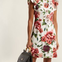 Peony-print ruffle-trimmed dress | Dolce & Gabbana | MATCHESFASHION.COM UK