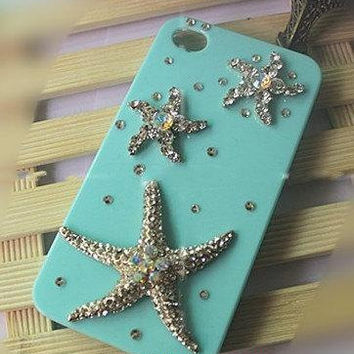Iphone 5 Case crystal Handmade Luxury Lovely starfish Bling Crystal Rhinestone Case Cover Skin For Iphone 5 5G galaxy note3/note2/s4/s3