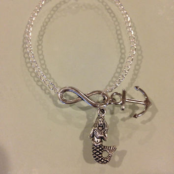Ariel and Prince Eric Silver Infinity Bracelet Inspired by Once Upon A Time on ABC