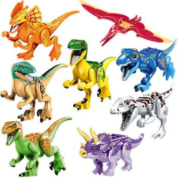 Jurassic Dinosaur Small Figure Animal Wild World Pterosauria Triceratop Indomirus T-Rex Building Block Toy compatible with lego