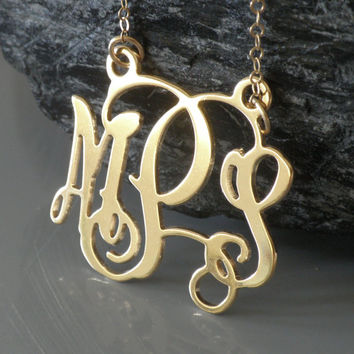 """Monogrammed Necklace - 1.25"""" Wide 18K Gold Plated - 925 Sterling Silver"""