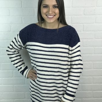 Striped Chenille Sweater - Navy