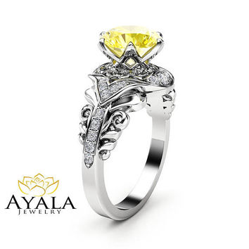 Yellow Moissanite Victorian Engagement Ring 14K White Gold Ring Diamond Alternative Ring