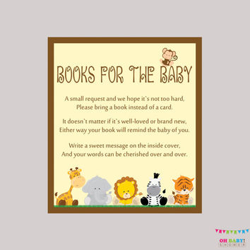 Safari Baby Shower Bring a Book Instead of a Card Invitation Inserts - Instant Download - Book Request Safari Baby Shower Neutral - BS0001-N