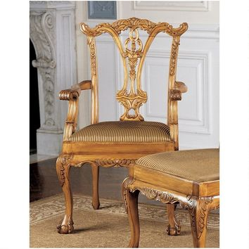 English Chippendale Arm Chair Light Wood Ornate Elegant Delicate 39.5H