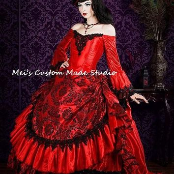 Custom Made Red Gothic Victorian Steampunk Antoinette Fantasy Masquerade Gown/Bridal Dress/Party Dress
