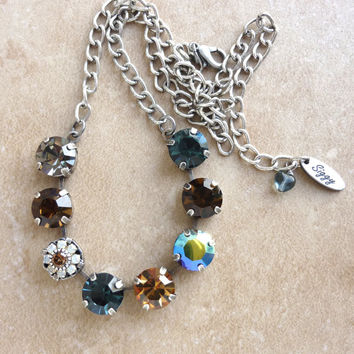 11mm Swarovski crystal necklace, choose your length, topaz and blue, better than sabika, GREAT PRICE