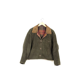 90s cozy green corduroy wool reversible jacket / flannel / leather trim / rustic / outdoors / 1990s / vintage / boxy / baggy / medium