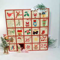 Wooden Advent Calendar with Individual Doors Vintage Advent Calendar Folk Art Style Hand Painted Vintage Christmas Decor