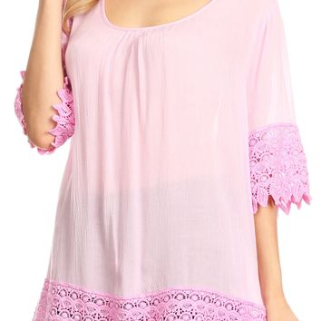 Sakkas Marija Womens Essential Everyday  Lace Top Blouse Light Soft Summer Travel