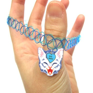 go away sarcastic kitty tattoo choker, 90s, grunge