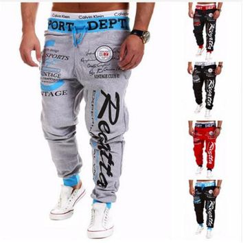 2017 Men's Casual Fitness Runner Favorite Casual Fitness Sweatpants American Flag Logo Print / Pentagram Pants