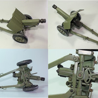 Authentic Vintage Iron Howitzer Carriage Russian Cannon Museum Model Machine Gun Military WWII