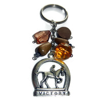 Equestrian Horse Key Chain, Beaded, Orange, Brown