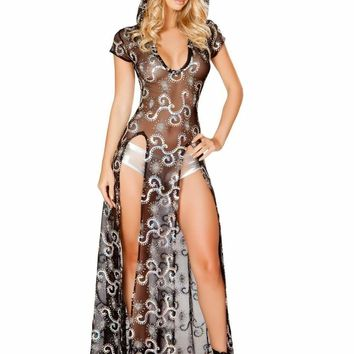 Roma USA Rave Wear Sequin & Sheer Double High Slit Hooded Dress