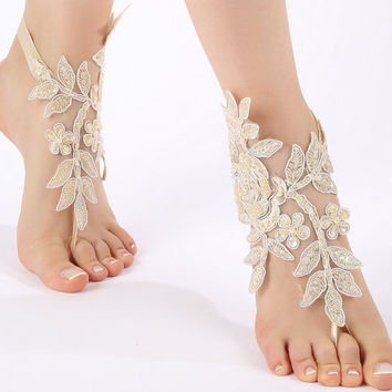 Free ship champagne ivory white Barefoot Sandals, french lace, shoes, Gothic, Wedding, beach wedding  barefoot sandals