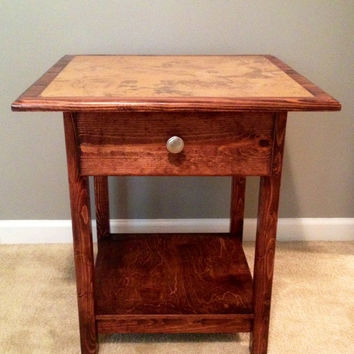 Tile End Table, Side Table, Nightstand, solid pine, handcrafted