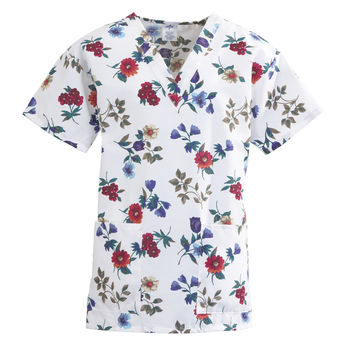 Medline ComfortEase Ladies V-Neck Two-Pocket Scrub Tops-Autumn Glow Print